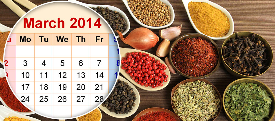 Evergreen's spice harvest calendar is here.